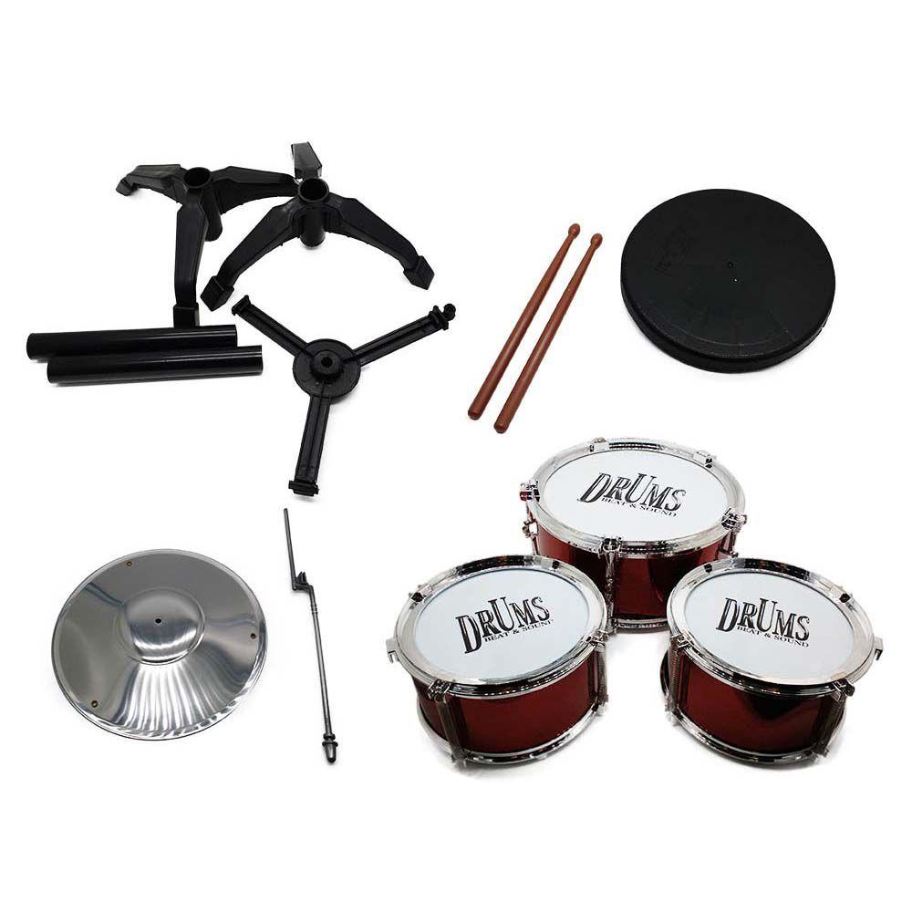 bateria infantil rock drum 3 tambores prato e baquetas