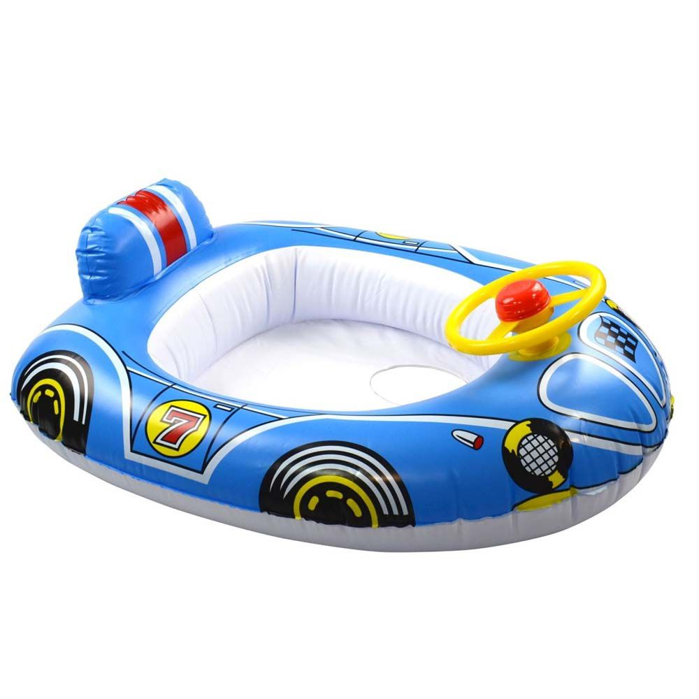 boia inflável infantil carro com assento e volante - azul