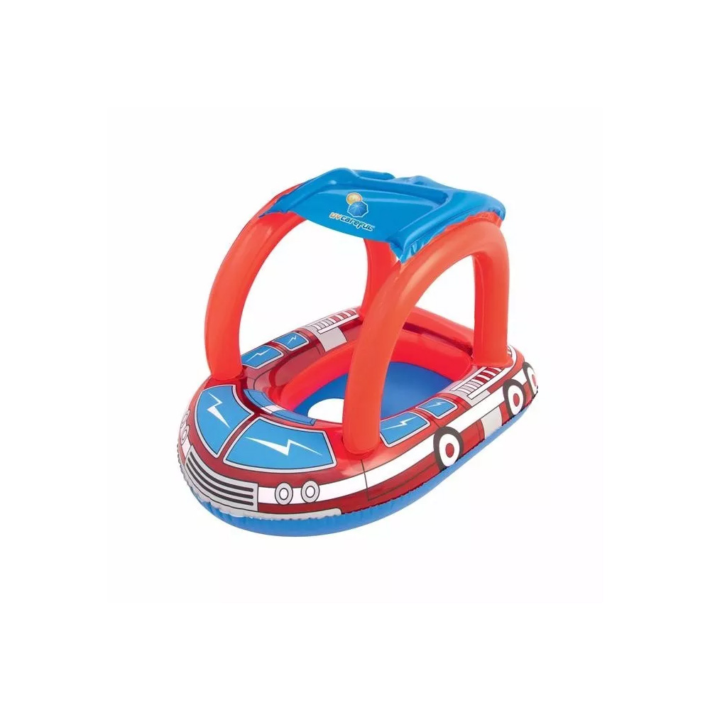 boia inflável infantil piscina com cobertura carro bombeiro