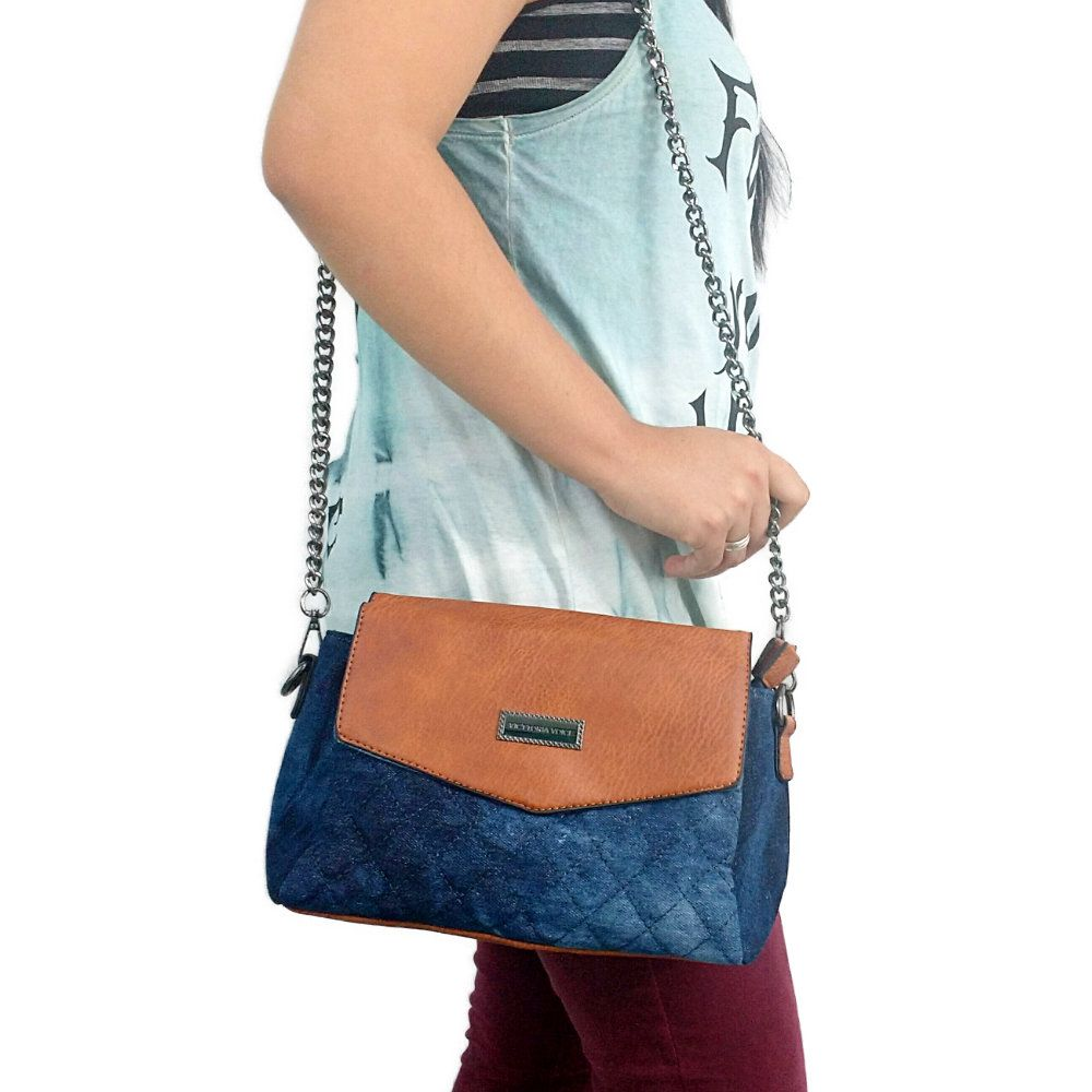 bolsa feminina de ombro jeans com alça transversal removível