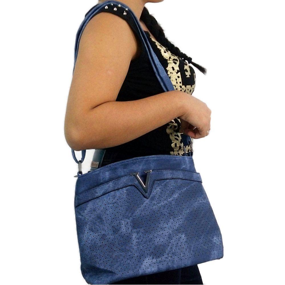 bolsa feminina jeans com alça regulável re ombro