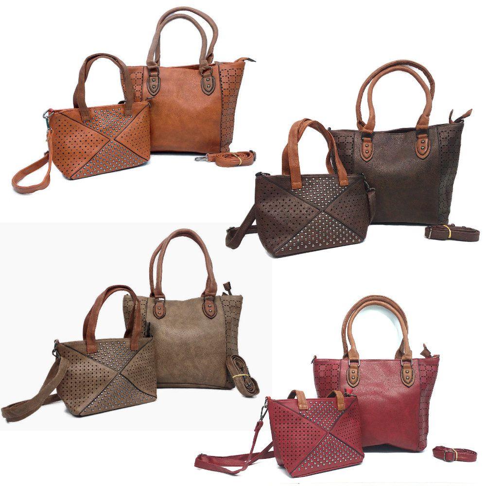 bolsas de couro sintético feminina kit 2 bolsas