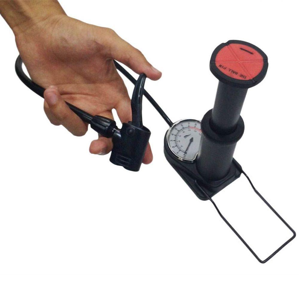 bomba de ar de pé para bike com manômetro e dois bicos