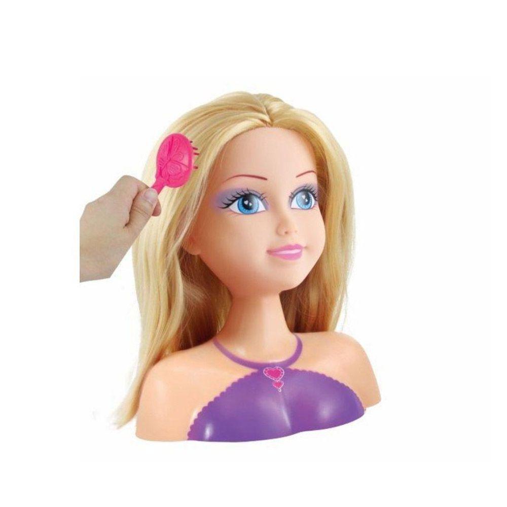 boneca para maquiar e pentear com acessórios loira  dtc