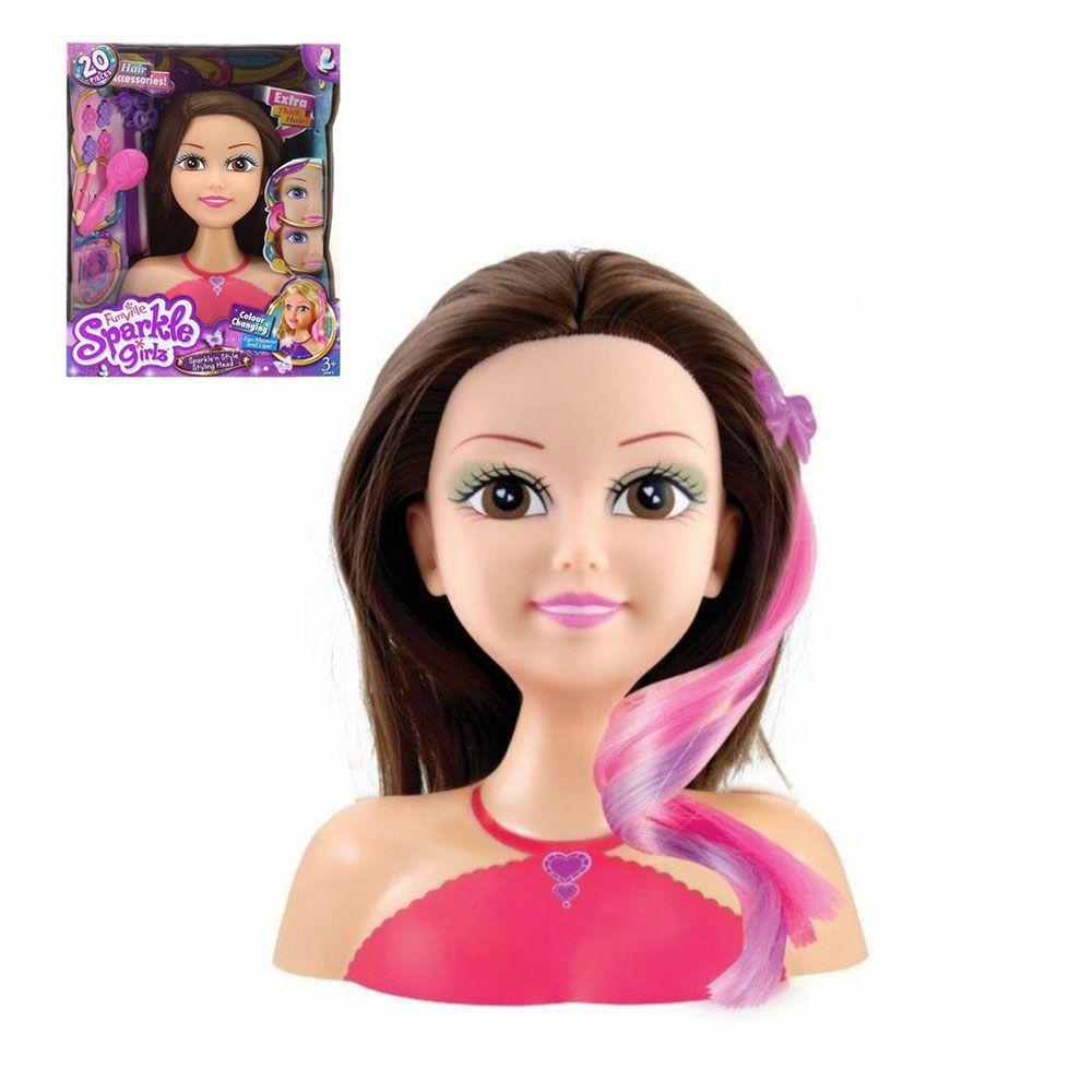 boneca para maquiar e pentear com acessórios morena - dtc