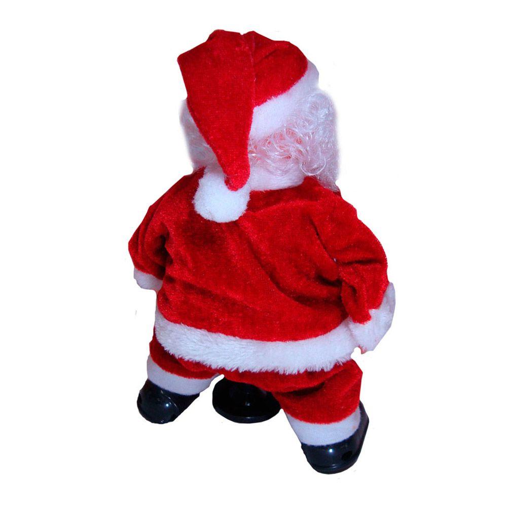 Boneco Papai Noel Decorativo de Natal Movimento Luz Som 24cm