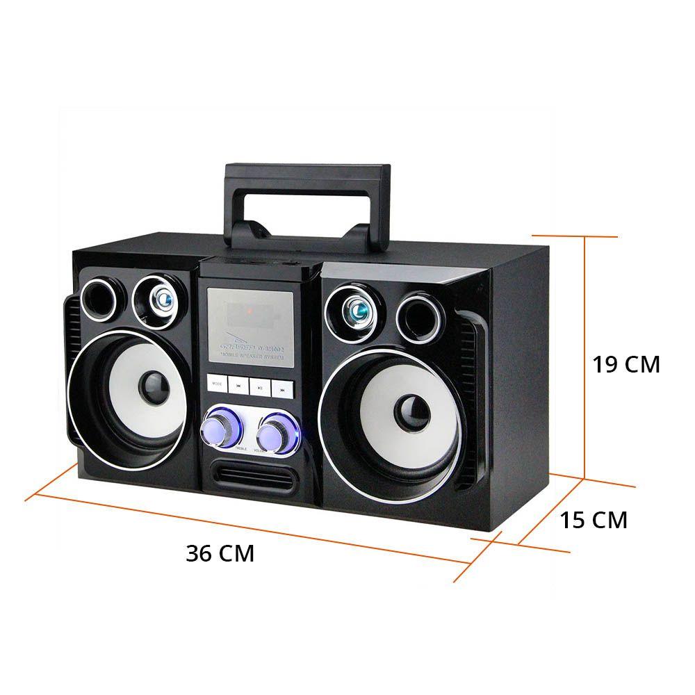 caixa de som bluetooth com radio fm integrado 20w  preto