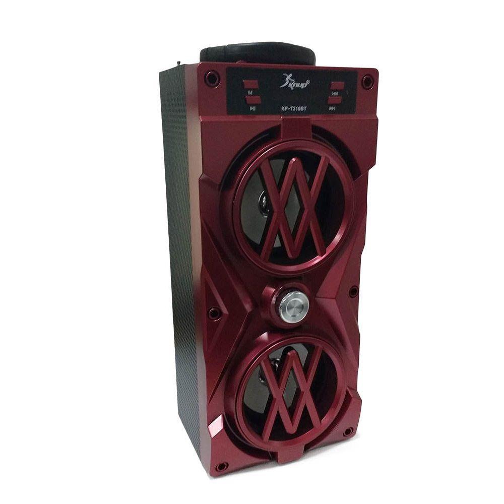 caixa de som bluetooth com radio fm recarregável - vermelho
