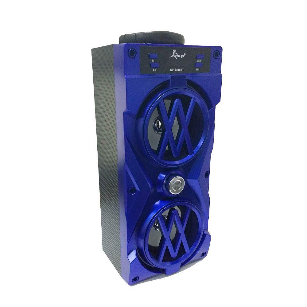 Caixa de Som Portátil Bluetooth 10W Radio FM Recarregável Azul