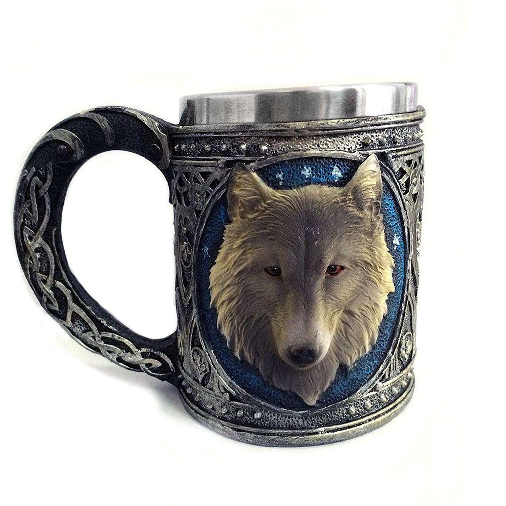 caneca got copo em aço inox lobo wolf 350 ml