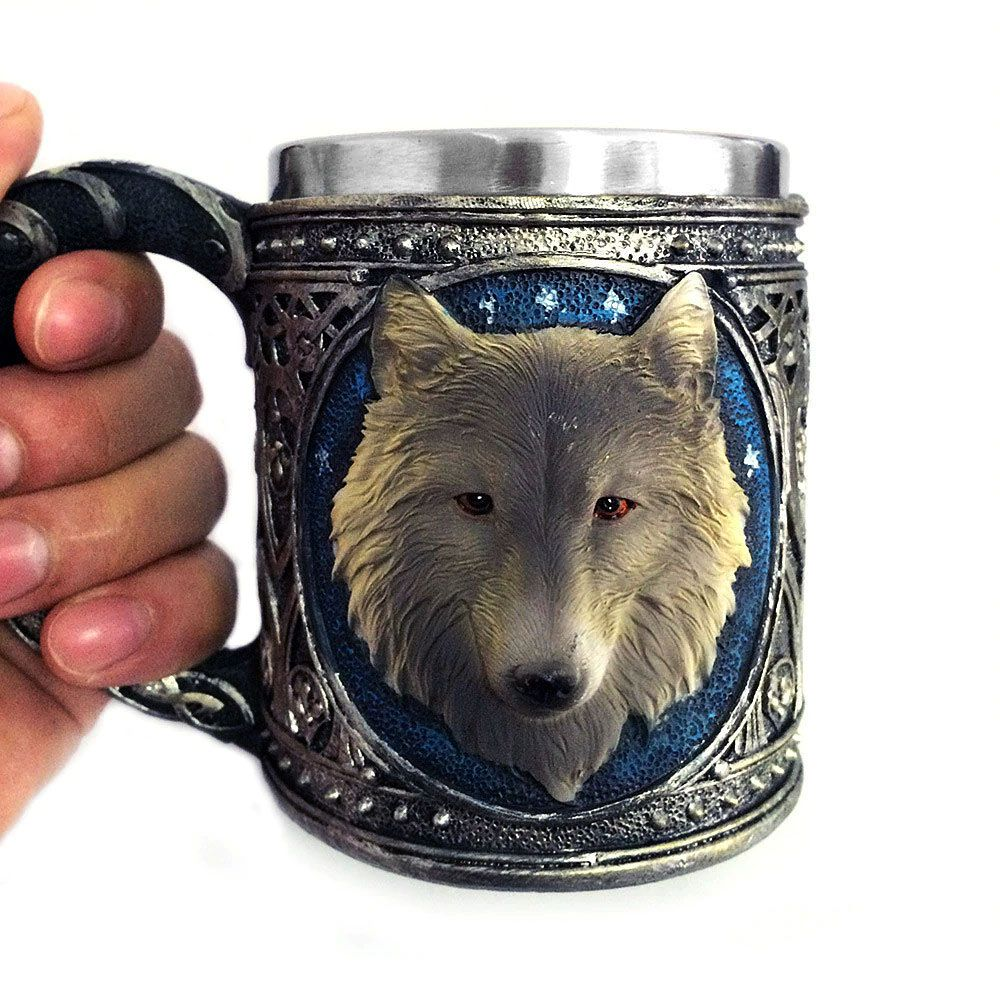 Caneca Lobo Branco da série GOT em Aço Inox 350 ml