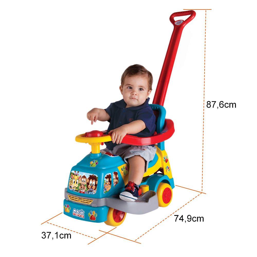 carrinho andador com haste e aro de segurança - magic toys