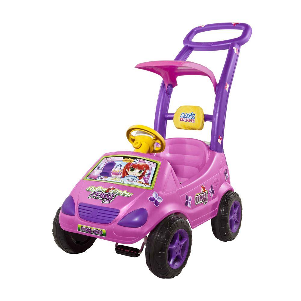 carrinho de passeio infantil com pedal e empurrador rosa