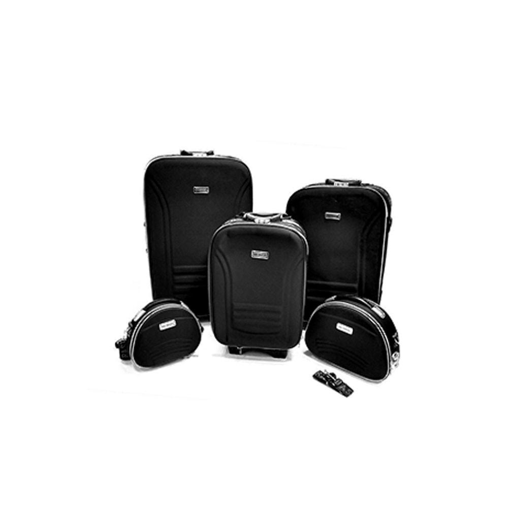 conjunto de malas de viagem 5 peças com trava - preto