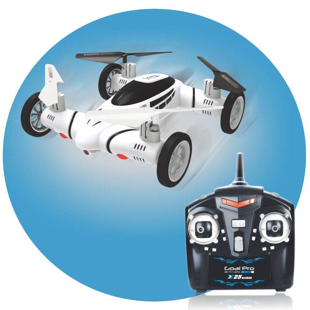 drone X25 2 em 1 voo e terrestre com câmera luzes led 2.4ghz
