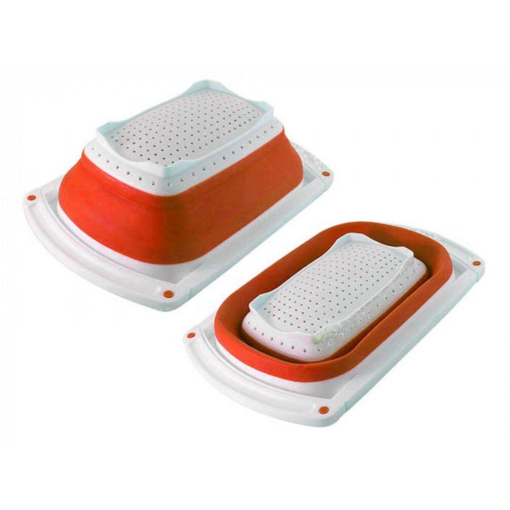 escorredor de alimentos retrátil compacto para pia vermelho