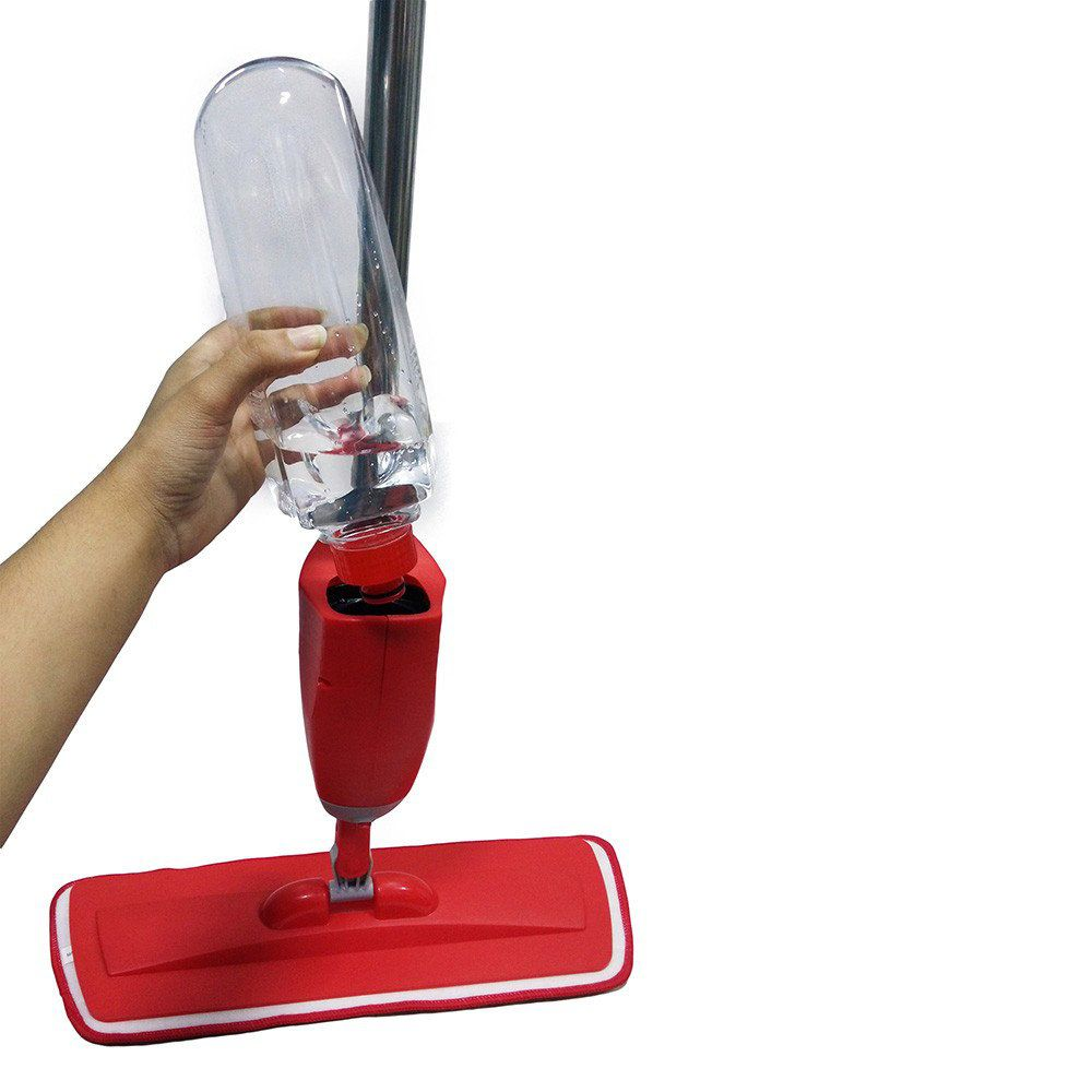 esfregão mop rodo magica com reservatório spray - vermelho