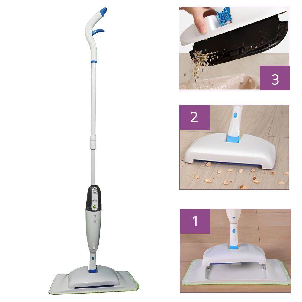 esfregão mop spray com vassoura magica 3 em 1 cabo 1,28 m