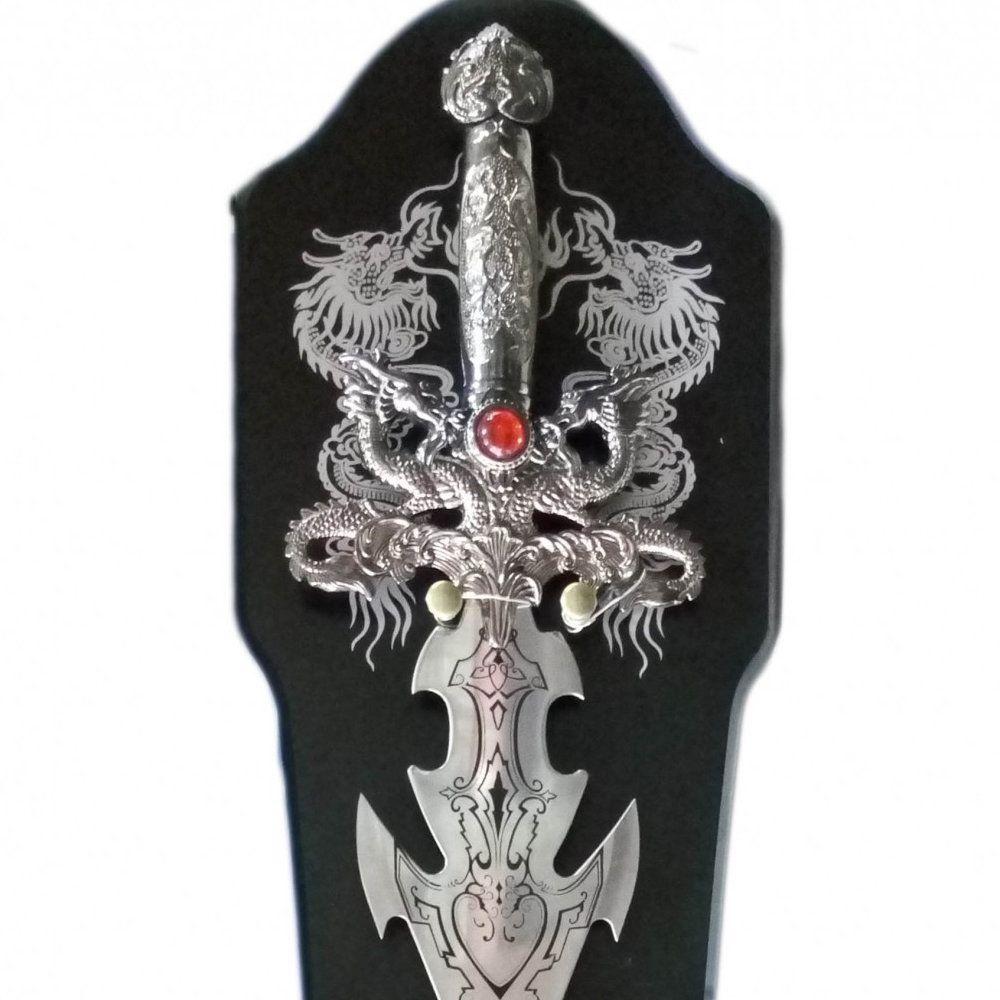 espada medieval decorativa detalhada com suporte 88 cm