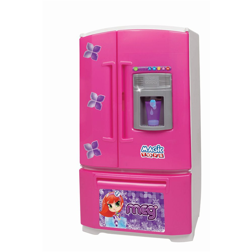 geladeira infantil de três portas com luzes som e acessórios