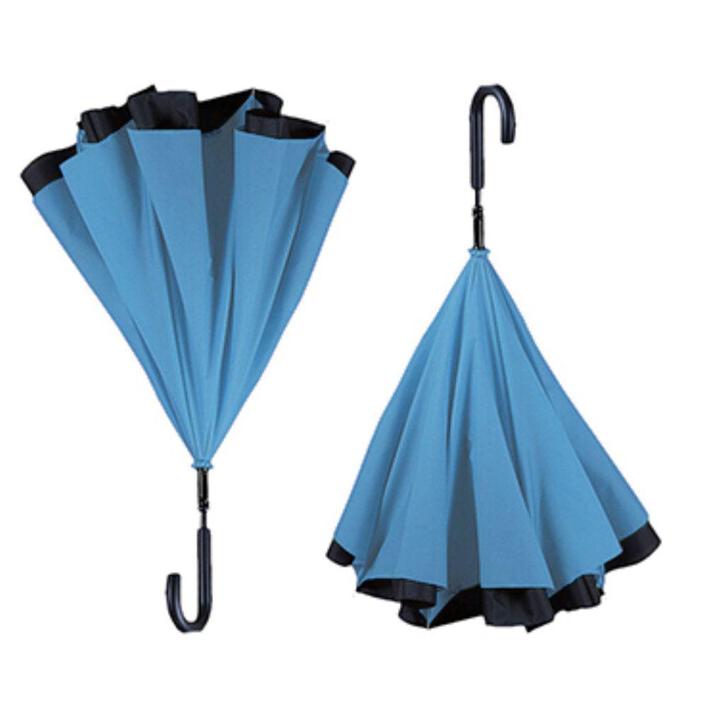 guarda chuva invertido dupla face diâmetro 117cm azul claro