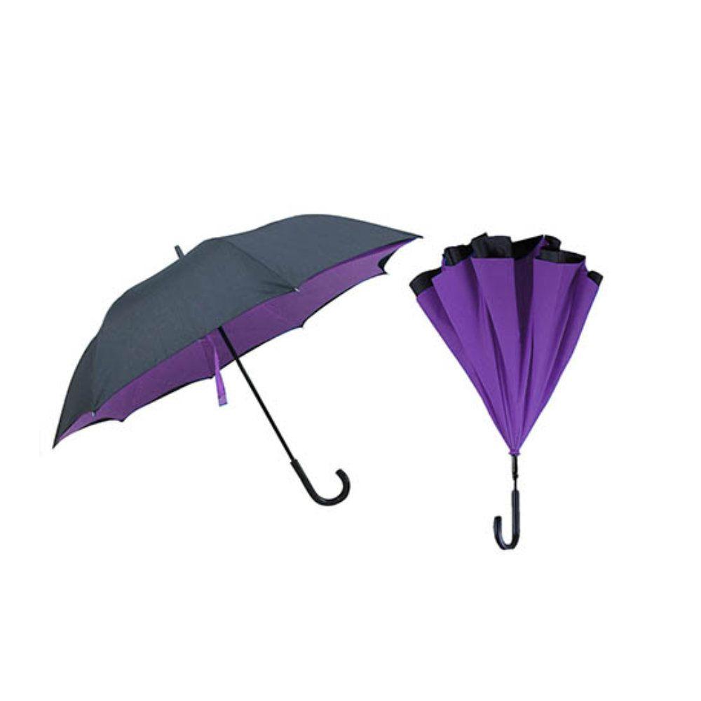 guarda chuva invertido dupla face diâmetro de 117cm roxo