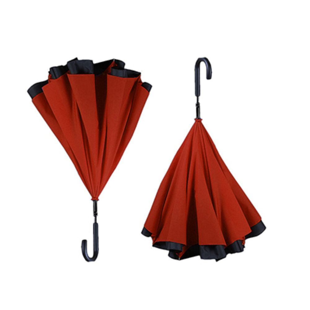 guarda chuva invertido dupla face diâmetro de 117cm vermelho