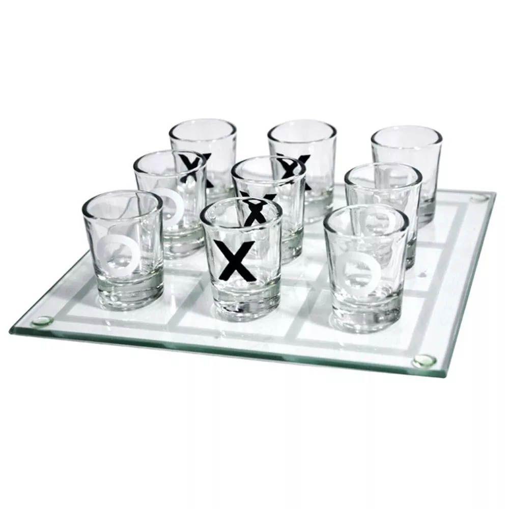 jogo da velha shot dose com 9 copos de tequila bebida 25x25