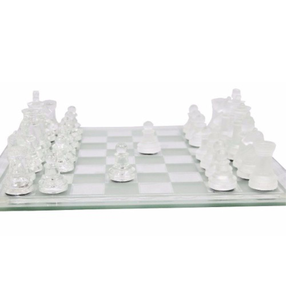 jogo xadrez tabuleiro e peças de vidro