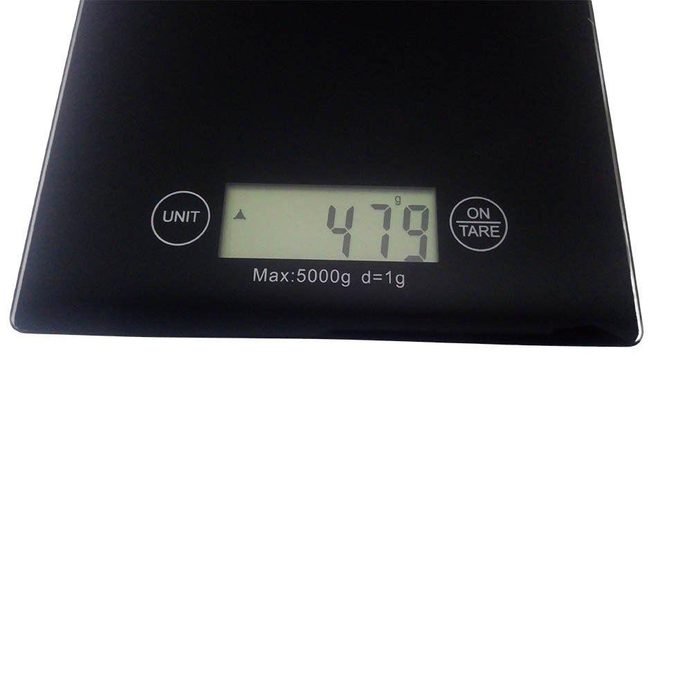 kit 2 balanças digitais 5kg em vidro temperado para cozinha