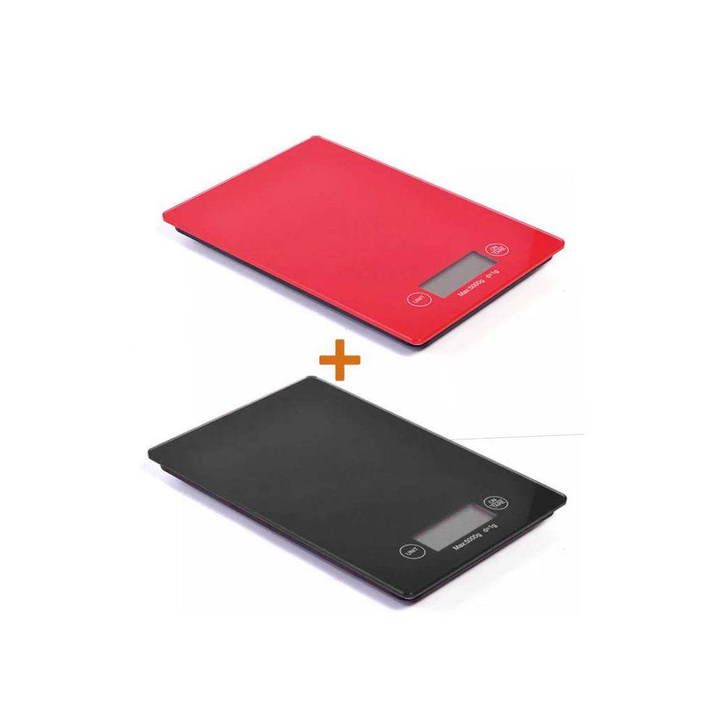 kit 2 balanças digitais 5kg em vidro temperado - vermelho