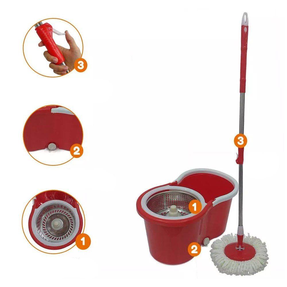 kit 2 balde spin mop centrifuga Inox esfregão 1.30 + 4 refis