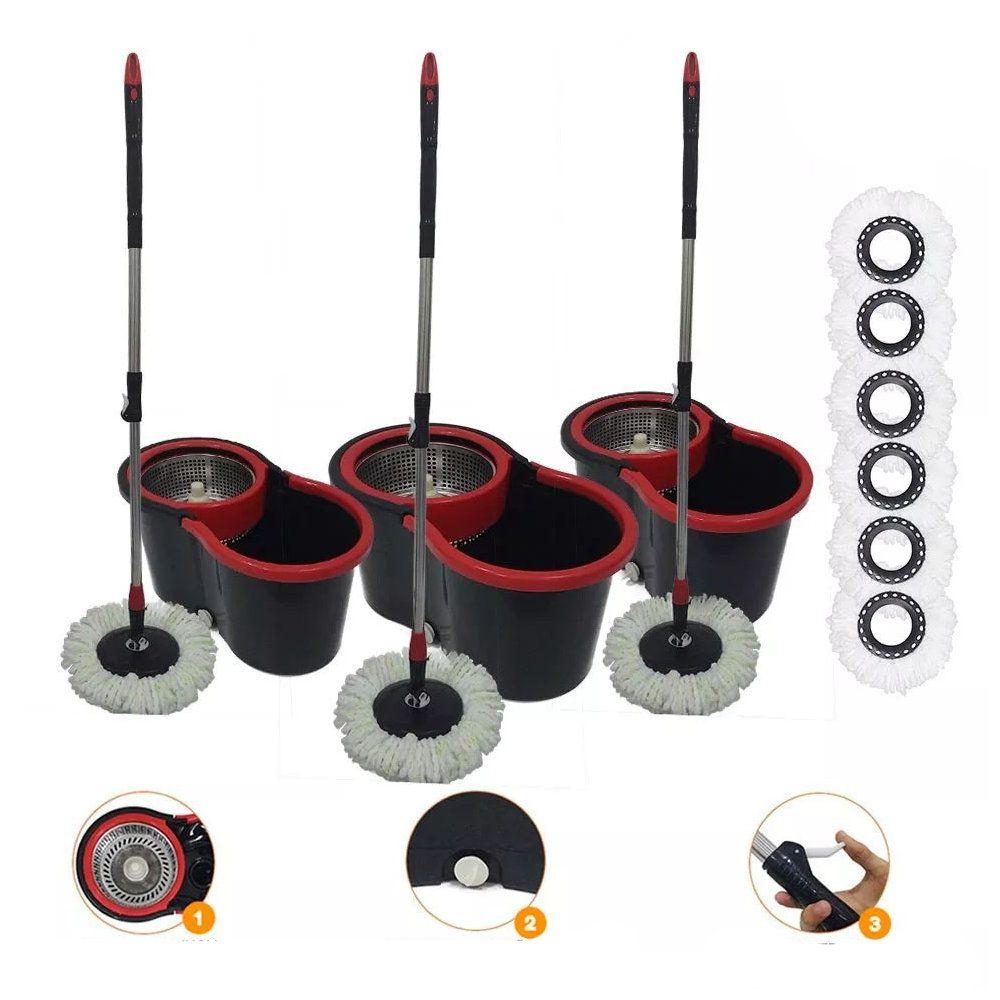 kit 3 baldes spin vassoura mop saída aguá cesto inox 6 refis