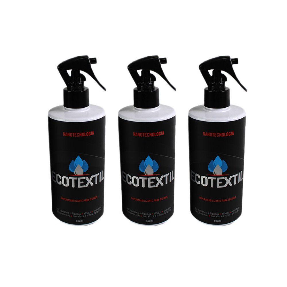 kit 3 ecotextil 500ml impermeabilizante de tecido e estofado