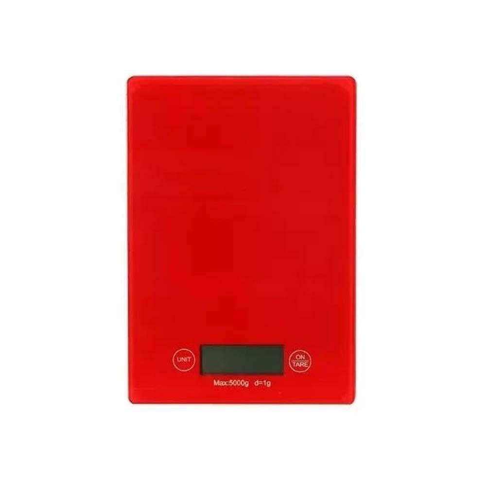 kit 4 balanças digitais 5kg em vidro temperado - vermelho