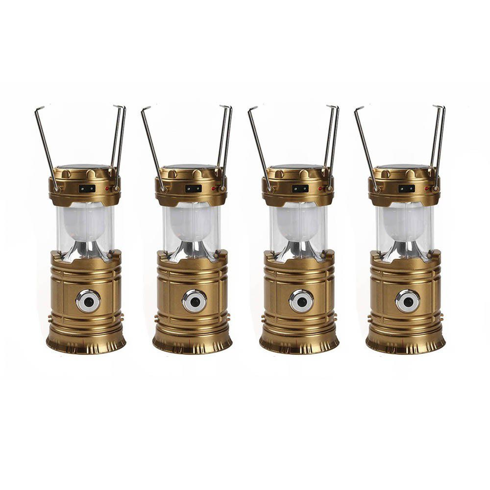 kit 4 lampião solar e lanterna 2 em 1 recarregável com usb