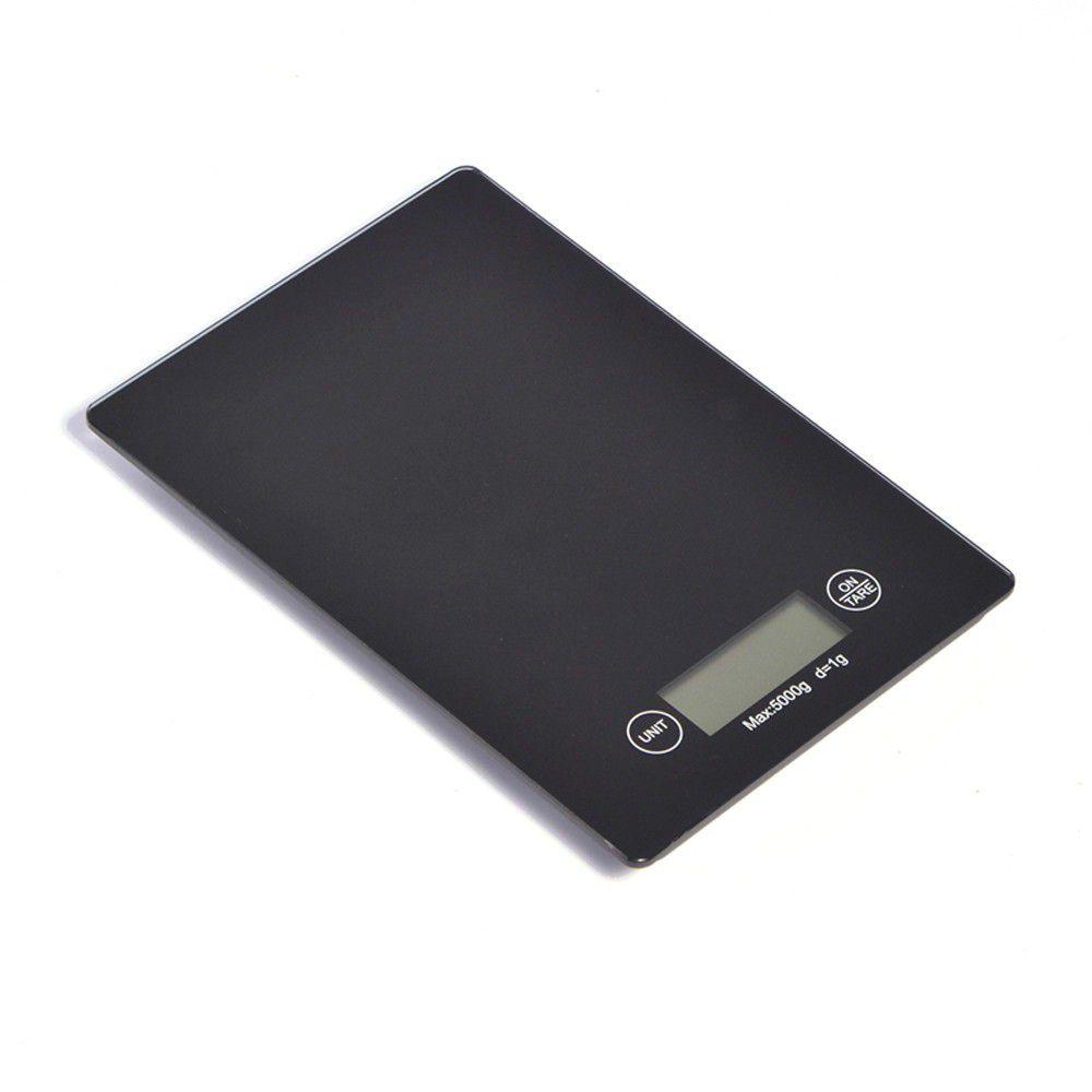 kit 6 balanças digitais 5kg em vidro para cozinha - preto