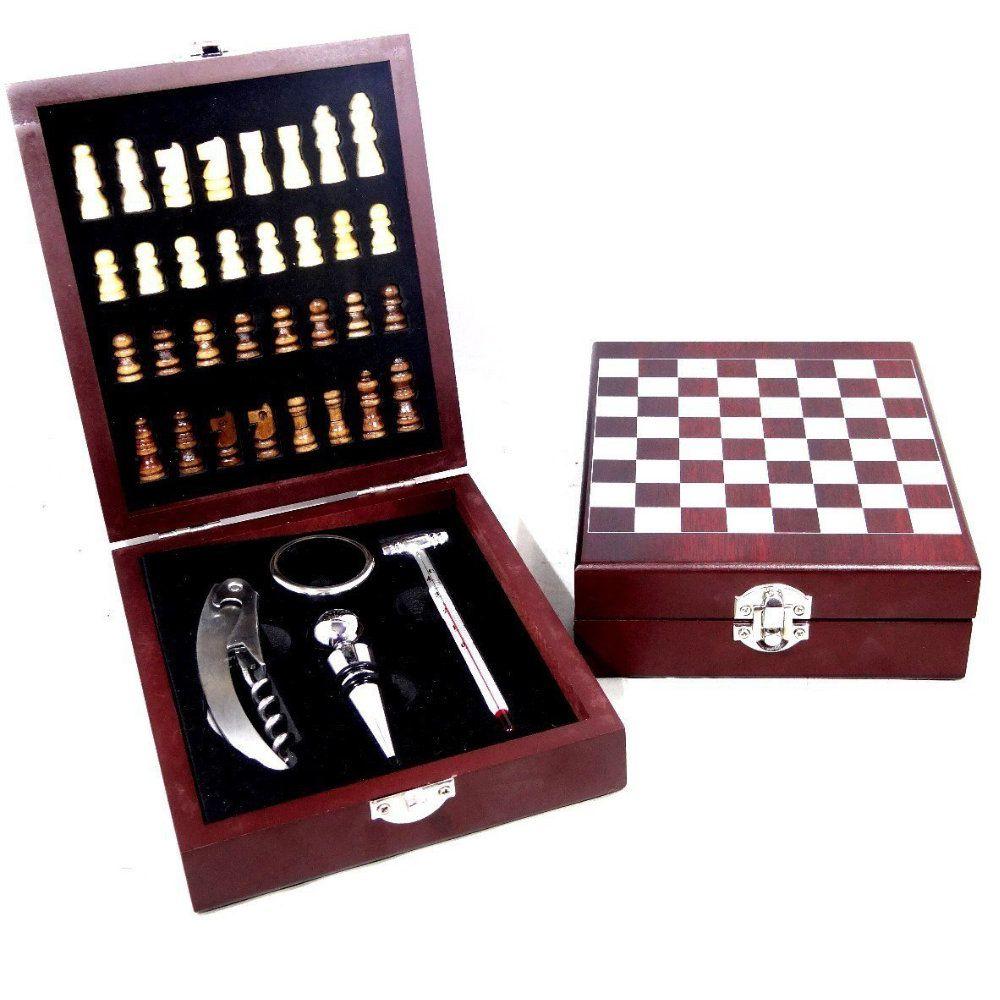 kit para vinho com jogo para xadrez conjunto 4 peças
