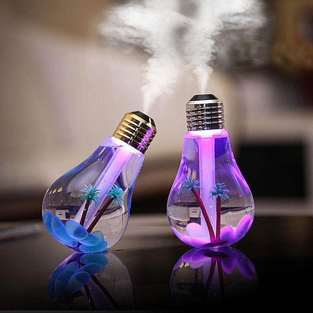 lâmpada umidificador de ar e luminária usb 400 ml colorida