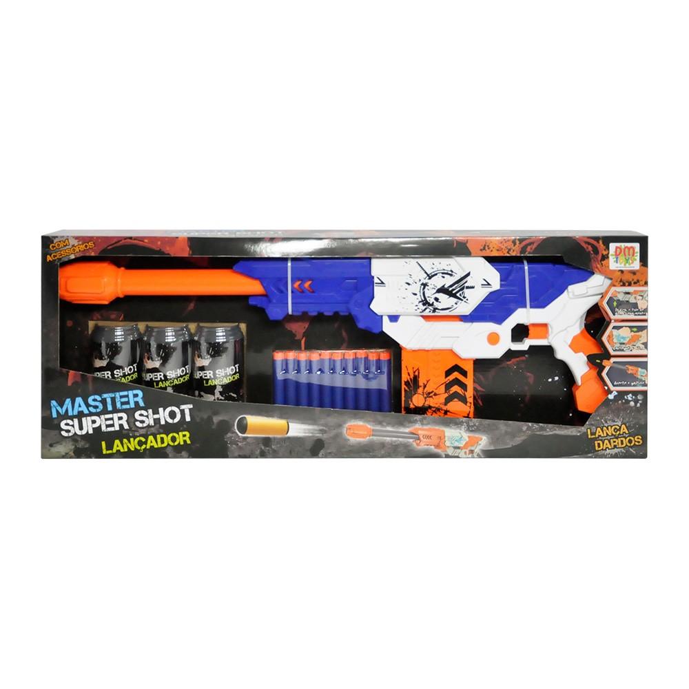 lançador de dardos sniper semiautomático com 10 dardos azul