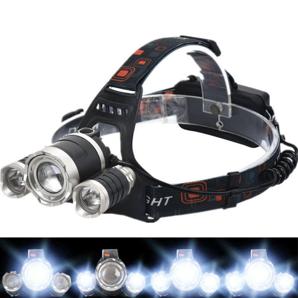 lanterna de cabeça recarregável 3 leds com foco ajustável