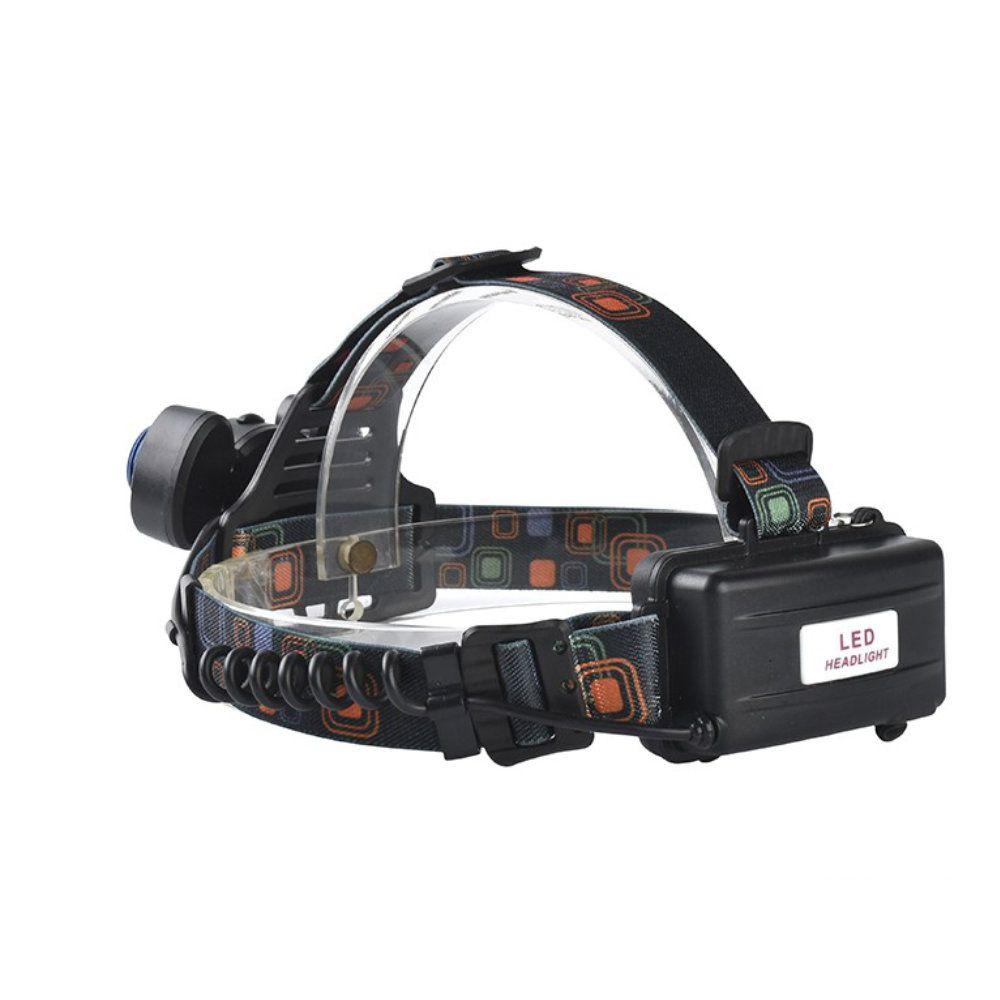 lanterna de cabeça recarregável com 3 leds de foco regulável