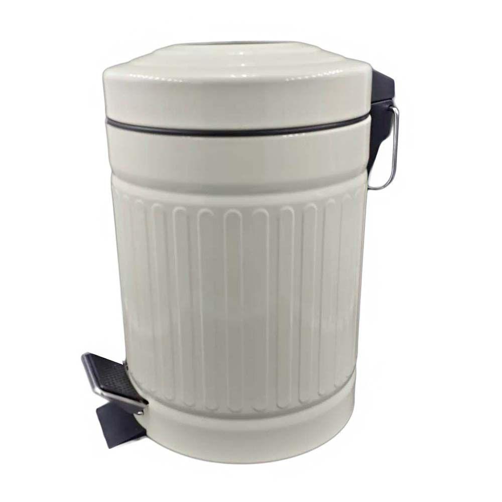 lixeira retro 3 litros para banheiro em aço inox - branco