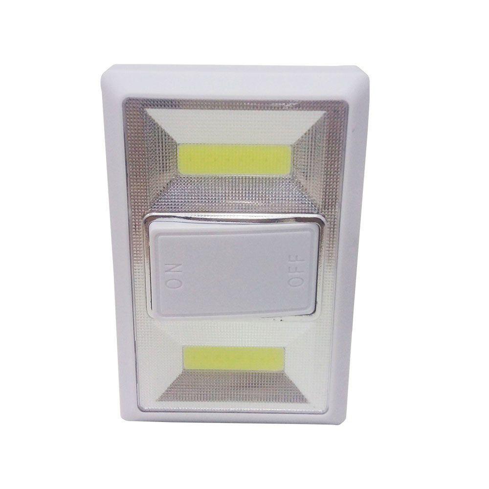 luminária abajur de emergência a pilha com 2 led para parede