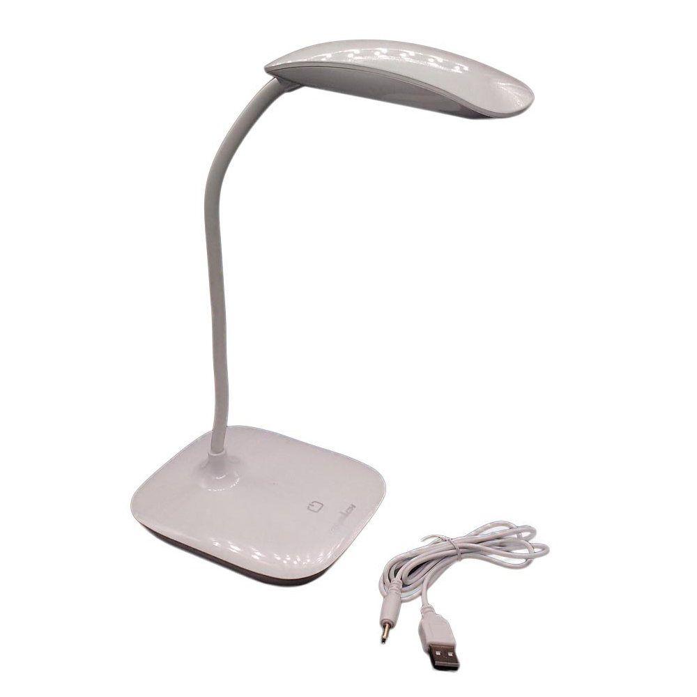 luminária de mesa led touch com entrada usb tomada branca