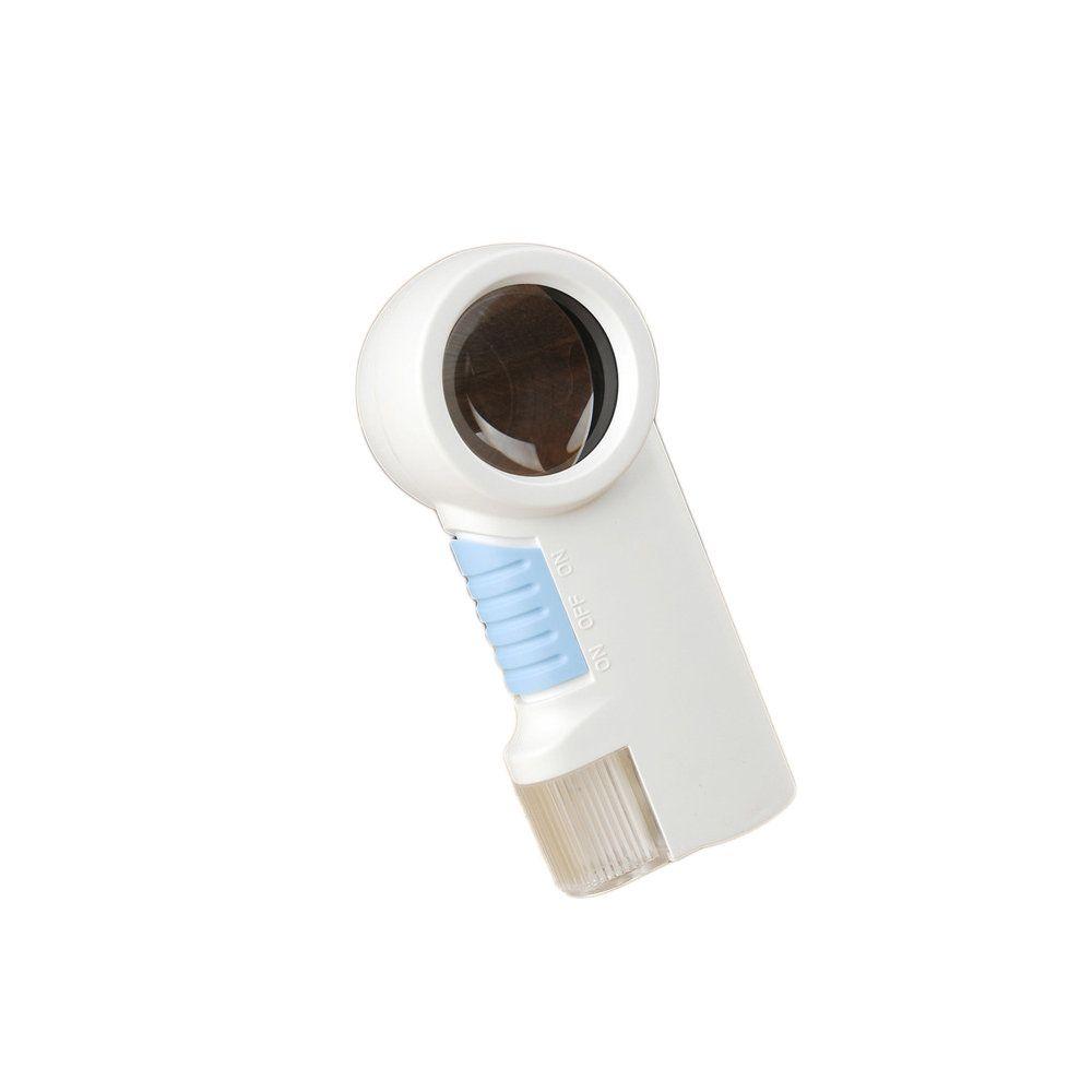 lupa de aumento 12x portátil com led e lanterna a pilha