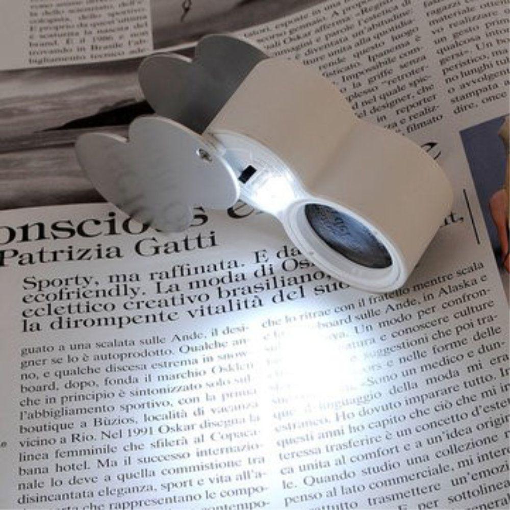 lupa de mão com 2 leds 40x 25mm Relojoeiro Joalheiro
