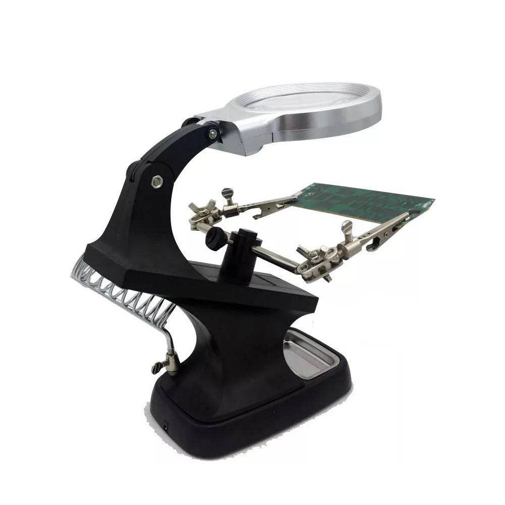 lupa de mesa profissional com led suporte para solda 4.5x
