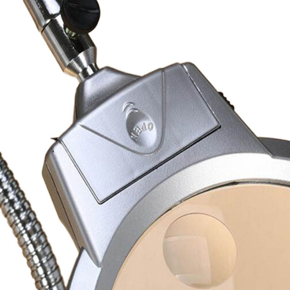 lupa mesa flexível com 2 led e base de grampo aumento 2x 5x