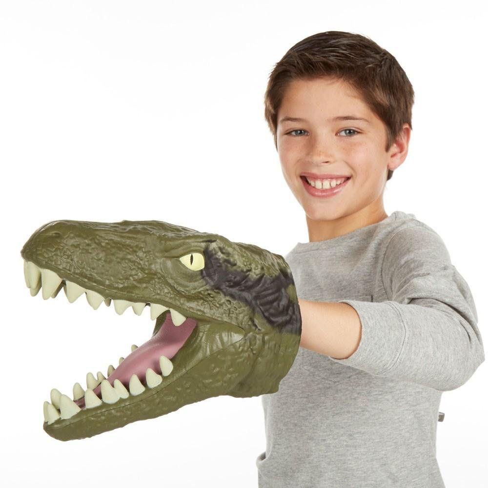 luva cabeça jurássica velociraptor som fantoche dinossauro
